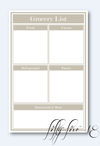 grocery list in blocks with background and logo
